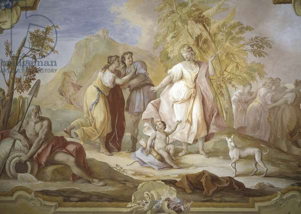 The game of Blind Man's Buff, by Jacopo Guarana, ca. 1770, 18th Century, fresco