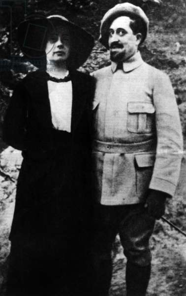 Guillaume Apollinaire with his fiancee Madeleine Pages, Oran, 1916 (b/w photo)