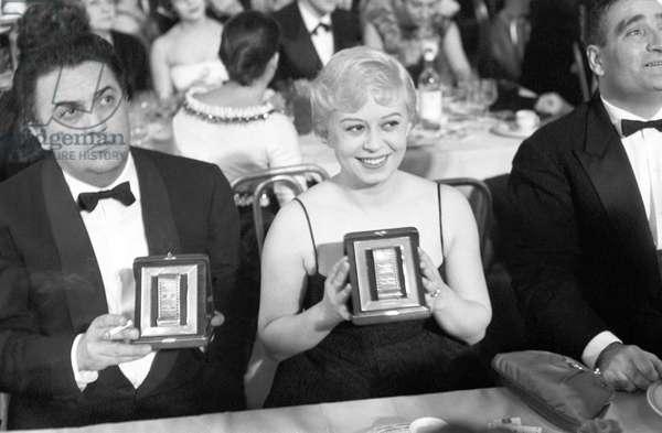 Giulietta Masina and Federico Fellini, Italy, 1958 (b/w photo)