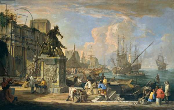 Capriccio with a View of the Harbor, Arch of Constantine and Equestrian Monument, 1713 (oil on canvas)