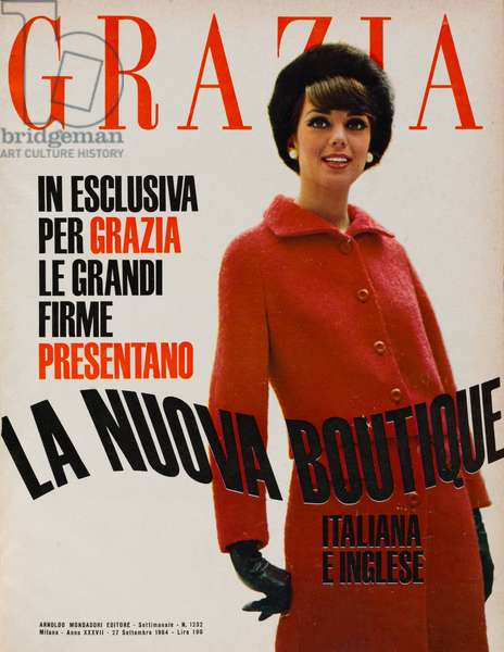 Cover of the women's magazine Grazia, A model wearing a soft wool red suit by Krizia with short jacket and skirt with central wrinkle closed by two buttons, September 1964 (b/w photo)