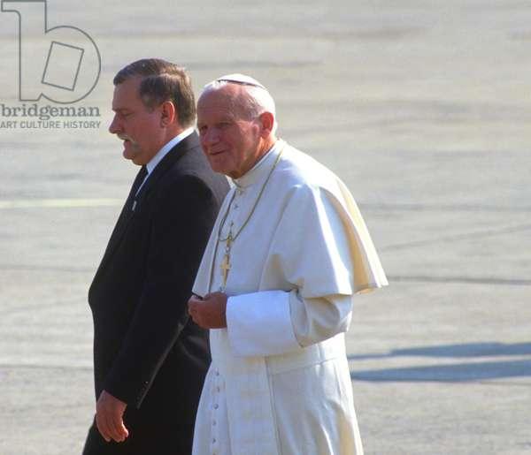 Pope John Paul II and Lech Walesa, Kraków, Poland