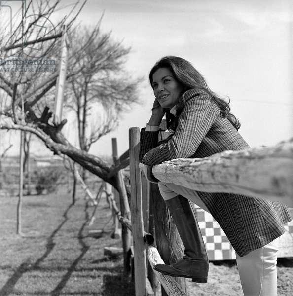 Florinda Bolkan in riding clothes, Rome, Italy
