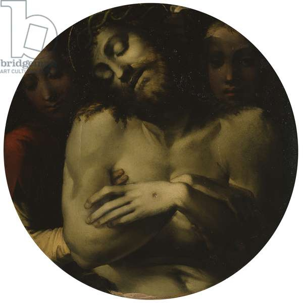 Christ of Mercy and Two Angels, by Bartolomeo di David, 1532, 16th Century, oil on board