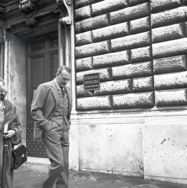 Gary Cooper visiting Rome, 1959 (b/w photo)