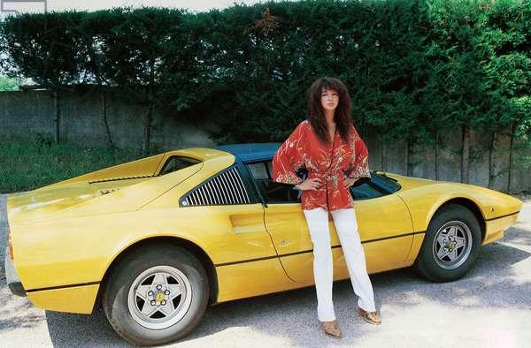 Kate Bush with a Ferrari car, Italy