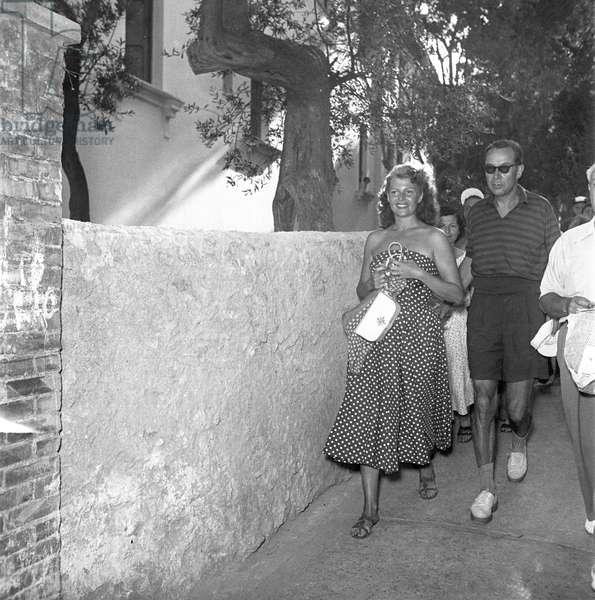 Rita Hayworth visiting Capri, 1950 (b/w photo)