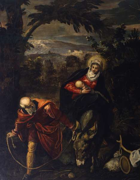 Flight into Egypt, by Jacopo Robusti known as Tintoretto, 1583-1587, 16th century, oil on canvas, 422 x 579 cm.