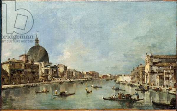 Canal Grande with S. Simeone Piccolo and S. Lucia, Venice (Il Canal Grande con S. Simeone Piccolo e S. Lucia, Venezia), by Francesco Guardi, 18th Century, oil on canvas