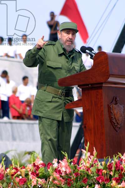 Fidel Castro lively speaking at a rally