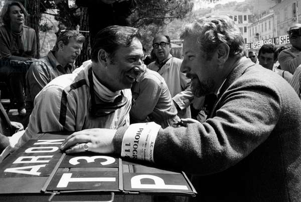 Peter Ustinov and Yves Montand on the set of the film 'Grand Prix', 1966 (b/w photo)