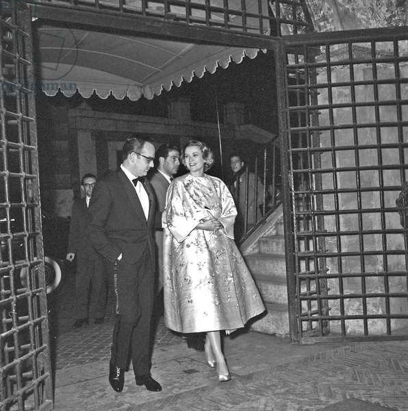 Rainier III and Grace Kelly in Rome, Rome, Italy, 1958 (b/w photo)