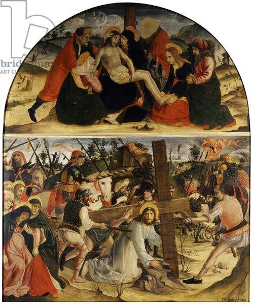 Pietà. Road to Calvary, by Vincenzo Civerchio, 1490, 15th Century, oil on canvas