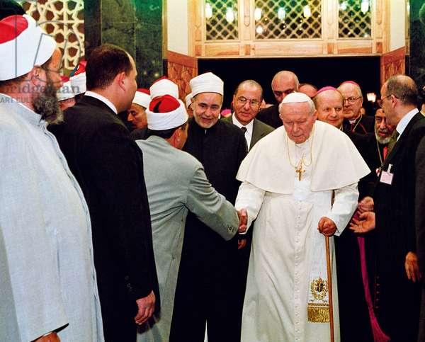 Pope John Paul II and Muhammad Sayyid Tantawy, Cairo, Egypt