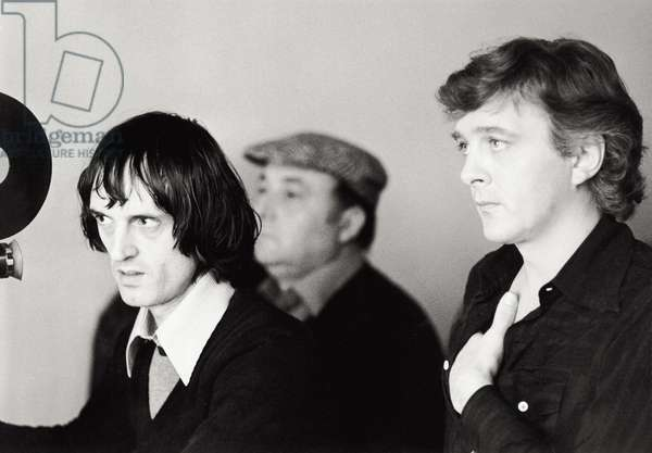 David Hemmings and Dario Argento on the set of the movie 'Deep Red (Profondo Rosso)', 1974 (b/w photo)