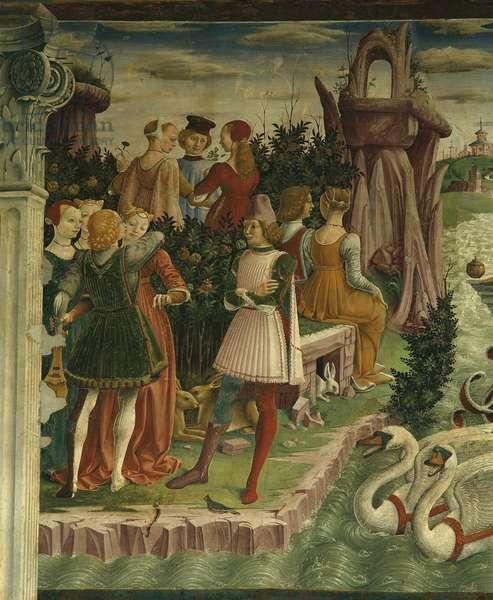 Allegory of April: Triumph of Venus (Mese di Aprile: Trionfo di Venere), by Francesco del Cossa, 1469 - 1470, 15th Century, fresco