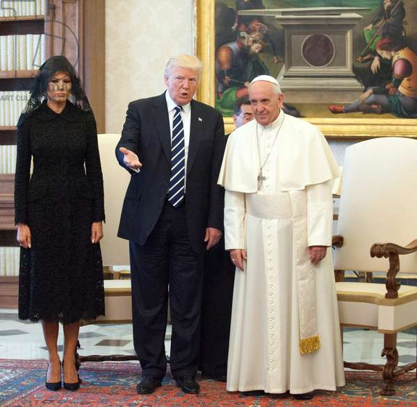 Pope Francis meeting the President of United States of America Donald Trump in the Private Library of the Apostolic Palace with his wife Melania, his daughter Ivanka Trump and her husband Jared Kushner, Vatican City, May 24th 2017 (photo)
