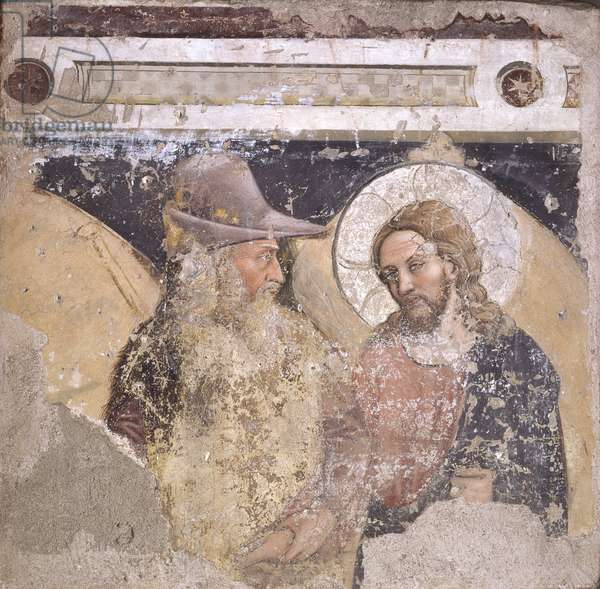 The Way for Emmaus, by Unknown Artist from Padua, 14th Century, fresco