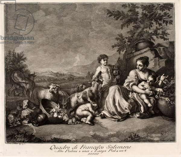 Pastoral scene, 18th century (engraving)