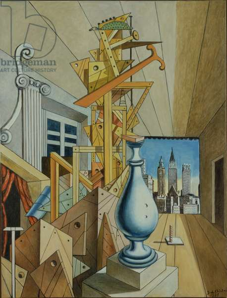 Metaphysical view of New York (Visione metafisica di New York), by Giorgio De Chirico, 1975, 20th Century, oil on canvas, 105 x 80 cm