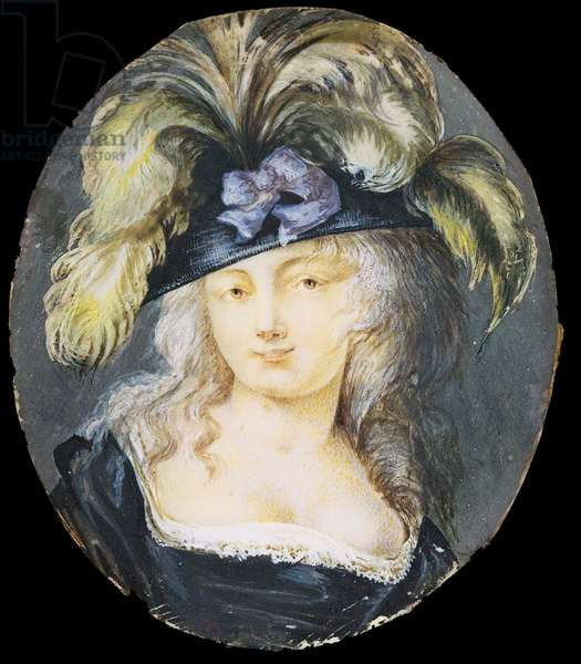 Female portrait, by Unknown French Artist, 19th Century, oil on horn, 8.5 x 7.5 cm