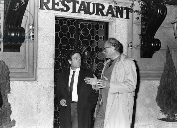 Raf Vallone and Arthur Miller, Italy, 1969 (b/w photo)