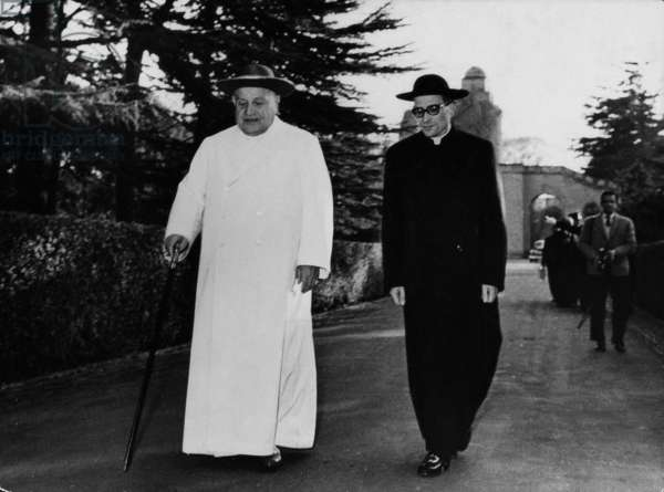 Pope John XXIII walking along the Vatican Gardens