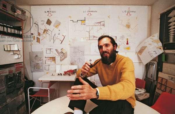 Renzo Piano in his study, Genoa, Italy, 1981