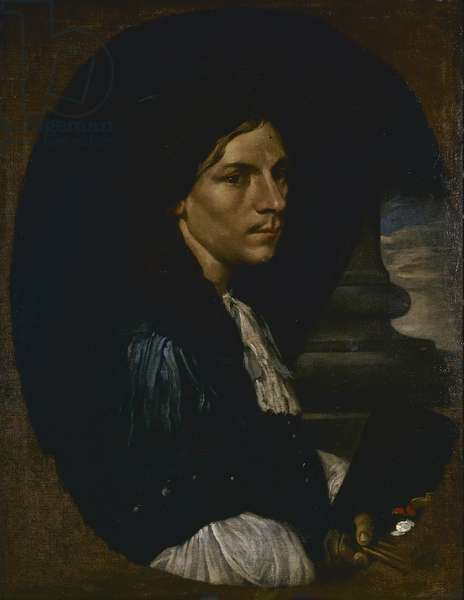 Self-portrait (Autoritratto), by Bourdon Sebastien, 17th Century, oil on canvas