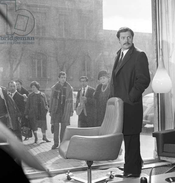 Marcello Mastroianni on the set of the film Marriage Italian Style, Italy, 1964 (b/w photo)