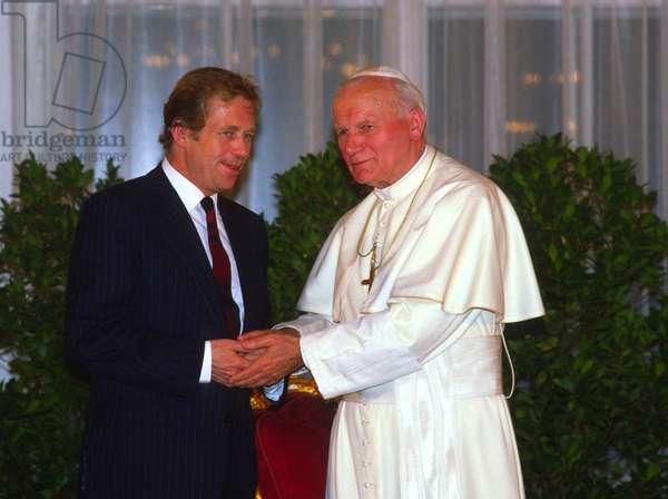 Pope John Paul II and Vaclav Havel, Czech Republic