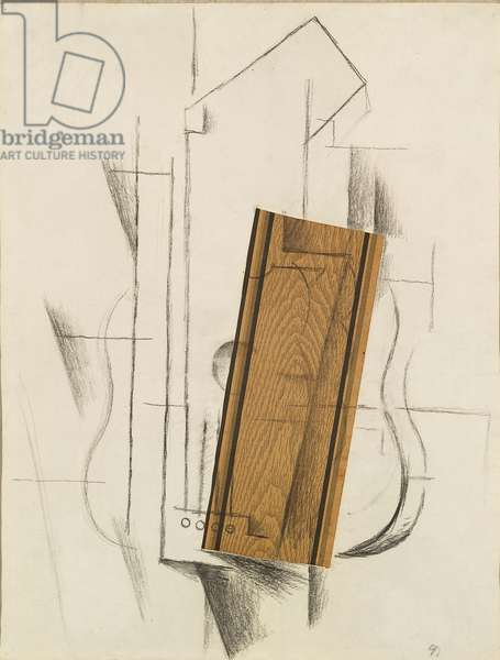 Still Life with Guitar - Still Life with Mandolin, by Georges Braque, 1912, 20th Century, charcoal and collage on paper, 62,1 ? 48,2 cm