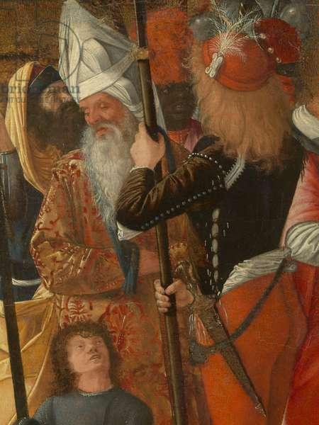 Halberdiers and Old Men (Alabardieri e anziani), by Vittore Carpaccio, 1490, 15th Century, tempera on canvas, 68 x 42 cm