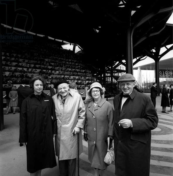Giuseppe Ungaretti with his wife and Nando Sampietro at the World Fair of New York, New York, United States