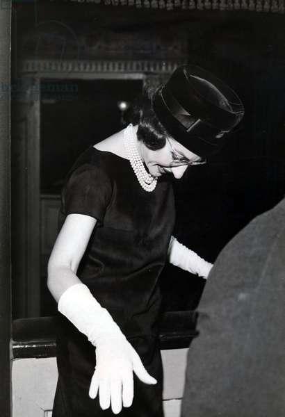 Maria Callas at Teatro Gerolamo of Milan, Italy, 1950 (b/w photo)