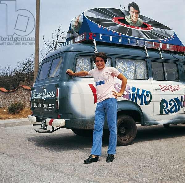 Massimo Ranieri with the Cantagiro 1969 van, Italy