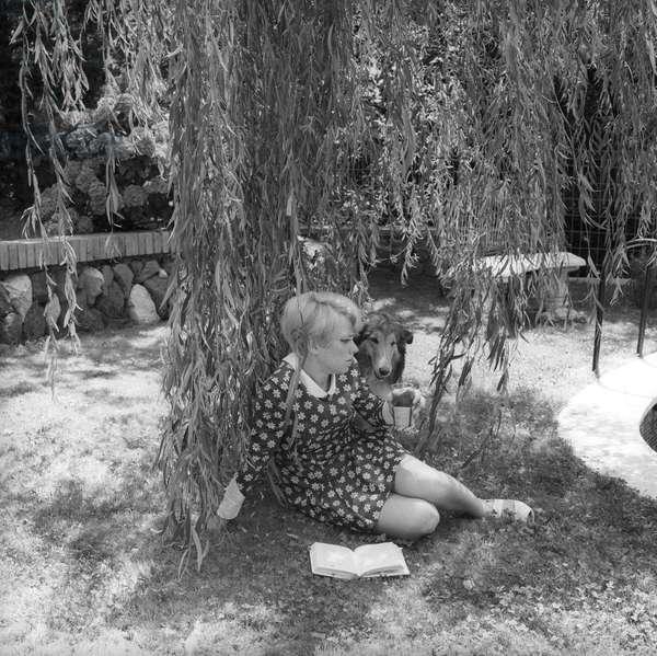 Rita Pavone with a dog , Ariccia, Italy