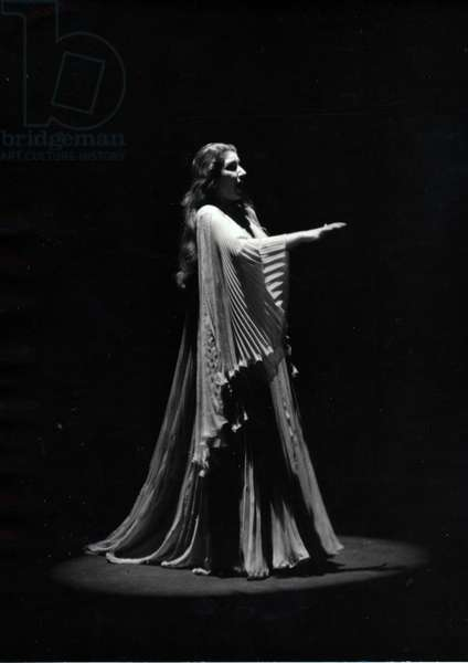 Maria Callas on the stage of Lucia di Lammermoor, Italy, 1954 (b/w photo)