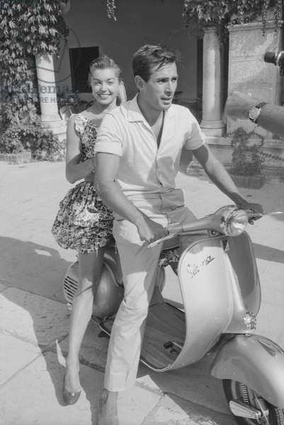 Esther Williams on a Vespa, Italy, 1957 (b/w photo)