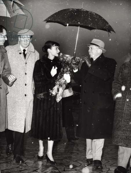 Audrey Hepburn, King Vidor and Mel Ferrer (b/w photo)