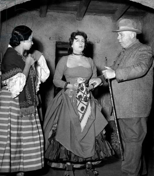 Anna Magnani and Jean Renoir on the set of 'The Golden Coach'