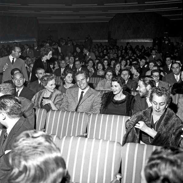 Charlton Heston with his wife Lydia Clarke at teatro Sistina, Rome, Italy, 1958 (b/w photo)