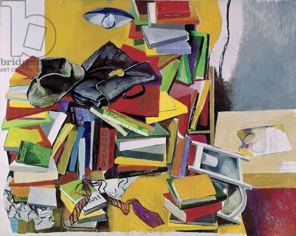 Books and Lamp (Libri e lampada), by Renato Guttuso, 1967, 20th Century, oil on canvas