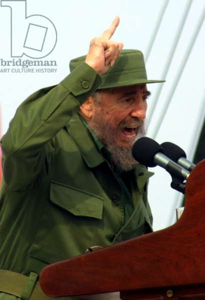 Fidel Castro lively speaking during a public rally