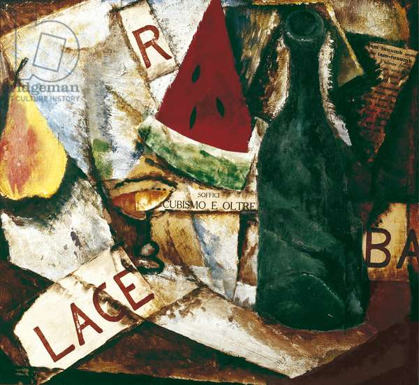 Composition with 'Lacerba' (Composizione con 'Lacerba'), by Ardengo Soffici, 1913, 20th Century, oil and collage on cardboard, 34 x 39 cm
