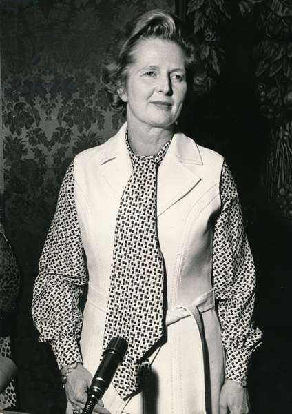 Margaret Thatcher attending a public meeting, 1980 (b/w photo)