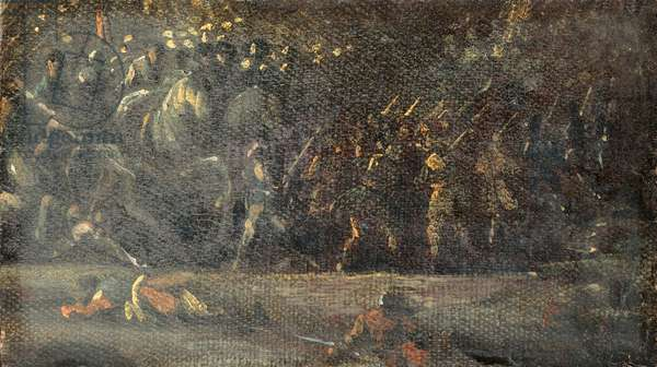 Military Scene, by Anonymous artist, ca. 1600 - 1650, 17th Century, oil on canvas, 20 x 15 cm