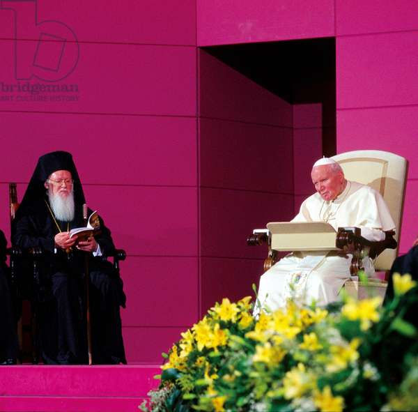 Pope John Paul II and Patriarch Bartholomew I of Constantinople, Assisi, Italy