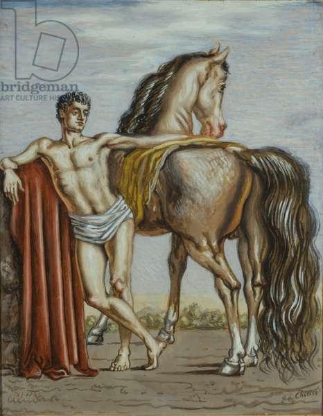Dioscuro with horse (Dioscuro con cavallo), by Giorgio De Chirico, 1936, 20th Century, charcoal and gouache on cardboard, 45 x 35 cm