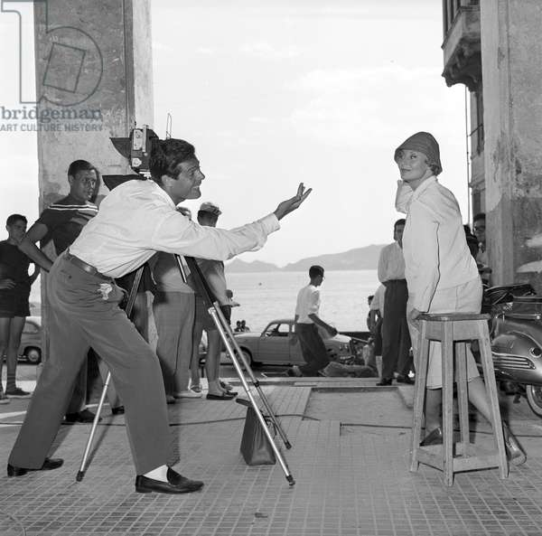 Marcello Mastroianni and Michèle Morgan on the set of Love on the Riviera, Italy, 1958 (b/w photo)